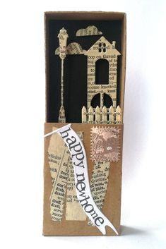 New home housewarming greeting card in a matchbox  #newhome #cardalternative #matchboxart #paperdiorama #minishacks #paperlove #homeowners #newbeginning #etsyfinds #homesweethome #housewarminggifts #newhomegift #matchboxcard