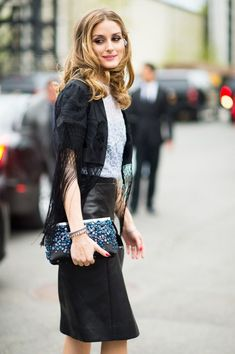 Olivia Palermo at Dior Cruise 2015:  leather pencil skirt and a polished clutch. My look is Dior.