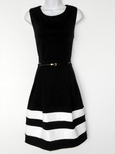 Calvin Klein Dress Size 10 Black Ivory Block Stripe Knit Fit Flare Belt Nwt Calvinklein Teadress Tail