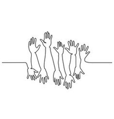 Abstract hands up continuous one line drawing vector Line Drawing Tattoos, Face Line Drawing, Drawing Tips, Drawing Faces, Abstract Drawings, Art Drawings, Contour Drawings, Hand Lines, Line Artwork