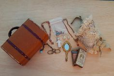 French fashion suitcase & accessories lot. Now available in my Ruby Lane store: Kim's Doll Gems