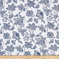 Shannon Embrace Double Gauze Garden Toile Cobalt from @fabricdotcom  From Shannon Fabrics, this ultra soft double gauze fabric consists of two layers of gauze tacked together. This fabric features an assortment of leaves in various colors. It is perfect for making popular swaddling blankets, bibs, burp cloths, bedding and baby accessories. Colors include blue and white.
