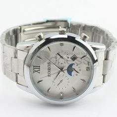 Minimalist steel strip white watch with calendar