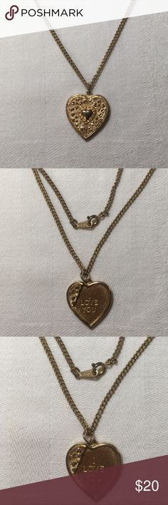 "Vintage Avon Little Orphan Annie Heart Necklace Vintage Avon Little Orphan Annie heart necklace is gold toned and has ""I Love You"". Made in the 1980's as a replica of the musical Annie. The heart measures 7/8""H x 3/4""W. Some wear on the back & fastener. Signed Avon. Avon Jewelry Necklaces"