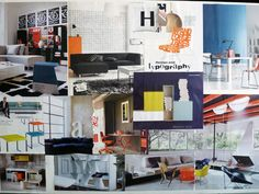 Moodboard for the signarture 'modernist' collection, designed to complement the trend for the mid-century modern furnishings and minimalist interior design. featuring iconic architects and designers of the period, these typographic prints in a colour palette of orange, olive and chalky turquoise couterpointed with charcoal and chalk put the writing on the wall to create a conversation point. Minimalist Interior, Mid-century Modern, Palette, Mid Century, Interior Design, Bed, Architects, Furniture, Conversation