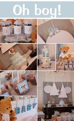 Baby Boy Teddy Bear Winter Wonderland Theme Shower #babyshower #teddybear