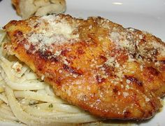 Flounder Francaise or Chicken Francaise from Food.com: I love this tangy lemon flavored sauce. It's quick, tasty and light. I serve it on a bed of buttered spaghetti or rice for my family. I'm a diabetic so I serve mine over spaghetti squash or zucchini. It's just perfect either way. You can use this recipe for chicken as well, just substitute 2 large chicken breasts, cut in half to make 4 thin fillets.