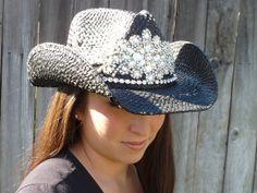 Ultimate bling black cowboy hat by Timetwochange on Etsy, $130.00