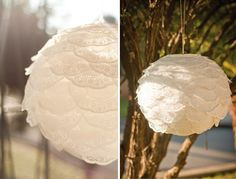 Using basic paper doilies to dress up a white paper lantern. For a more rustic feel, dip the doilies in tea and let them dry! Or dye them any color to match your pallet. Origami, Do It Yourself Wedding, Paper Doilies, Chinese Lanterns, Paper Lanterns, Diy Paper, Diy Wedding, Wedding Ideas, Wedding Decorations