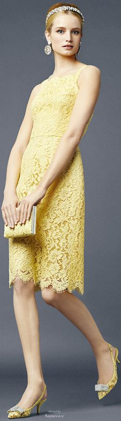 Dolce and Gabbana ~ Spring Yellow Lace Dress 2014.