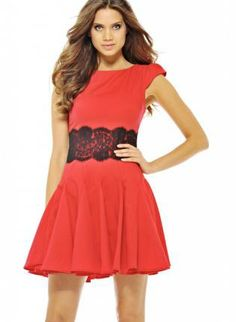 Red Fit and Flare Dress with Black Lace Waist Overlay,  Dress, skater dress  lace  skater skirt, Chic