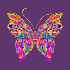 Check out this awesome 'Bright+and+Colorful+Butterfly' design on Butterfly Project, Butterfly Painting, Butterfly Watercolor, Butterfly Wallpaper, Butterfly Art, Butterfly Design, Butterflies, Daisy Background, Retro Background