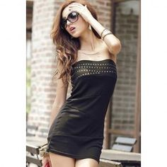 $9.16 Sexy Strapless Stud Embellished Solid Color Slim Fit Club Dress For Women