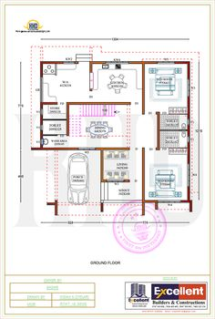 Flat roof house with floor plan by Excellent Builders and Constructions 2bhk House Plan, Square House Plans, Free House Plans, Model House Plan, Simple House Plans, Duplex House Plans, Luxury House Plans, Free Floor Plans, Story House