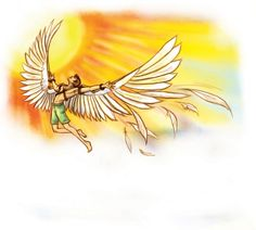 In Greek mythology, Icarus is the son of the master craftsman Daedalus dies as he tried to fly to close to the sun. For more information please visit astridcastle.com