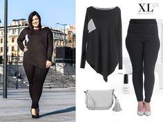 Czerń - stylizacja plus size w dużych rozmiarach. Legginsy xxl i piękna bluzka z szarym wykończeniem na www.xl-ka.pl #czarny #legginsyxxl #bluzkazdzianiny