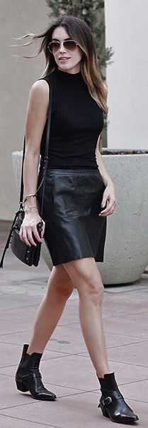 Thrifts And Threads Black Leather Skirt And Booties Fall Inspo