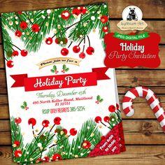 Holiday Party Invitation  Christmas Invitation  Secret Santa