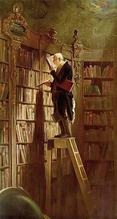 Man on library ladder. Love this painting.
