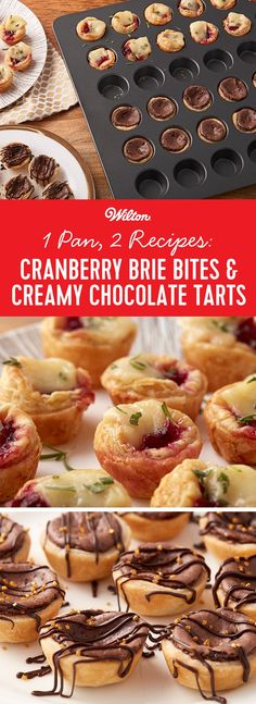 Whether you're hosting Christmas or New Year's Eve, quick and easy recipes are sure to make party planning less stressful…and with this Cranberry Brie Bites and Creamy Chocolate Tarts recipe, you can not only make an appetizer & a dessert at the same time, but you can bake them together in the same pan! Use the Mega Mini Muffin Pan to bake up delicious cranberry brie bites on one side and chocolate tarts on the other! #christmas #baking #wiltoncakes #recipes
