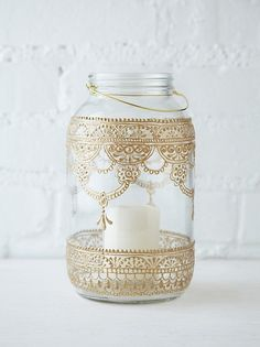 Paint/pattern jar (spray paint doiley, or gold lace glued)