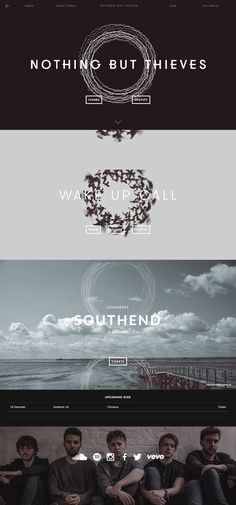 Responsive One Pager for UK band, 'Nothing But Thieves' featuring a central circle shape that transforms between sections as you scroll. Quite a nice touch in the intro where the shape border acts as music visualiser.