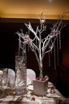 Wedding Recap - The Details Branch Centerpieces, Wedding Centerpieces, Wedding Crafts, Diy Wedding, Wedding Ideas, Rama Seca, Manzanita Tree, Hanging Crystals, Winter Wonderland Wedding