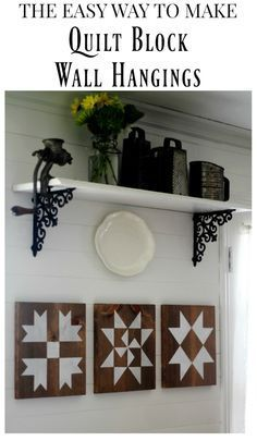 Lazy Girl's Guide to Make a Farmhouse Barn Quilt Block Sign with Step-by-Step Tutorial The easy way to make a farmhouse style barn quilt block wall hangings Barn Quilt Designs, Barn Quilt Patterns, Quilting Designs, Farmhouse Quilts, Farmhouse Style, Farmhouse Decor, White Farmhouse, Mini Barn, Barn Signs