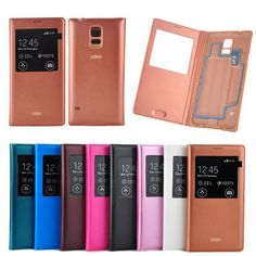 Automatic Sleep Awake Chip View Window Flip Leather Case For Samsung Galaxy S5 I9600 Battery housing Cover Phone bags Cases