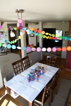 Colorful polka dot garland. Absolutely perfect art party decoration. So easy and fast to make too! | http://www.evolvingmotherhood.com