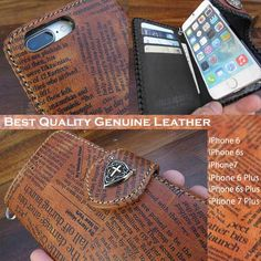 Best quality genuine Cowhide Leather is printed English news paper!   Genuine cowhide leather iPhone 6,6s,7/6,6s,7 Plus Flip Case Wallet Concho WILD HEARTS Leather&Silver(ID ip3264d1)  http://global.rakuten.com/en/store/auc-wildhearts/item/ip3264d1/