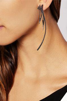 CristinaOrtiz : 9-karat blackened gold diamond earrings