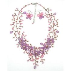 Rosa Lavendel jade süßwasserperle kupferdraht blumenkette& ohrringe schmuck-set 18 zoll modeschmuck neuen kostenlosen versand