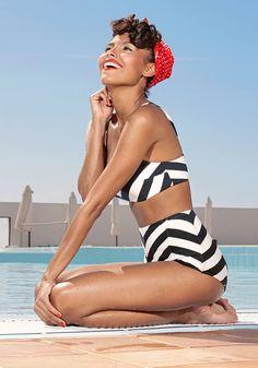 Vintage style chevron swimsuit