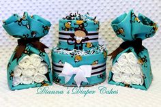Baby Diaper Cake Monkeys Shower Gifts and Decorations in One