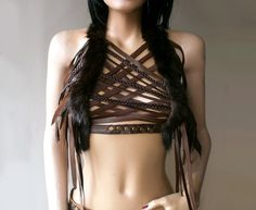 Dream Warriors dark brown leather crisscross halter top/harness/breastplate. Fur, braids, fringe. Pagan tribal shaman druid elf larp cosplay