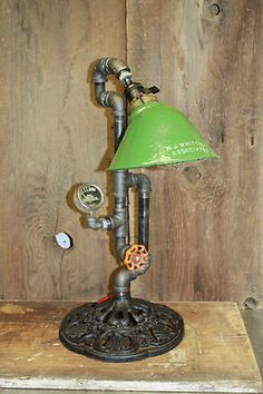 Vintage Industrial Machine Age Steampunk Lamp with Gears Valve | eBay