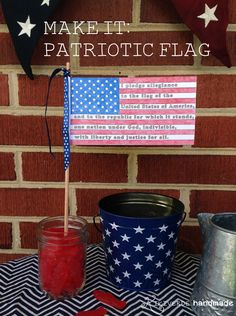 Patriotic Flag Craft - includes printable coloring template and easy instructions. A great centerpiece idea for July 4th!