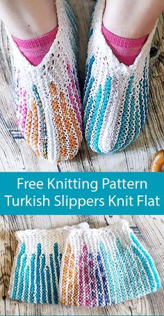 Free Knitting Pattern for Turkish Slippers Knit Flat Free Knitting Pattern for Turkish Slippers Knit Flat - Striped slippers worked flat in garter stitch and shaped with short rows. Designed by Cassandra Bibler. Knitting Socks, Free Knitting, Knitting Patterns Free, Sweater Patterns, Knit Slippers Free Pattern, Knitted Slippers, Striped Slippers, Quick Knits, Dk Weight Yarn