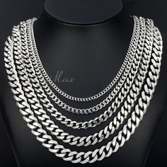 TOP SELLERS Silver Stainless Steel Curb Link Necklace Boys Men's Chain  Size: 3/5/7/9/11 mm_18-36 inch CUSTOMIZE