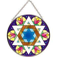 Shalom Star of David Stained Glass Suncatcher / Joan Baker Designs