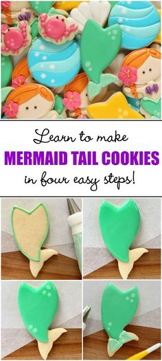 How to decorate mermaid tail cookies in four easy steps via Sweetsugarbelle.com
