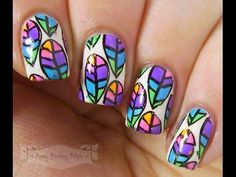 Penny Pinching Polish: A2Z - U is for....Unusual ~China Glaze Electric Nights Neon Rainbow Leaves Nail Art~ (with tutorial)