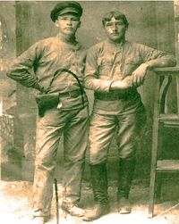 Pavel Medvedev, left, head of the Ipatiev House Guard who were responsible for the deaths of Nicholas, Alexandra, their children and servants.