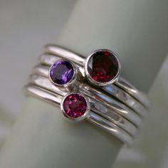 Stacking Rings Garnet Amethyst Topaz Sterling Silver Stackable Set of 5 Rings