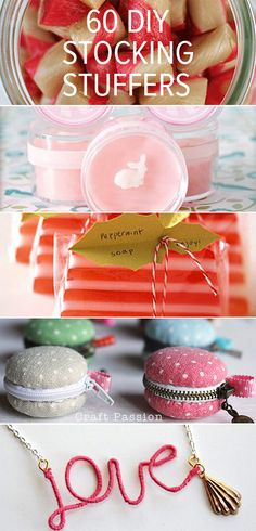 http://www.savvysugar.com/DIY-Stocking-Stuffers-32811815 60 DIY holiday stocking stuffers for homemade gifts.