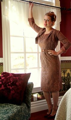 Vintage 50s Brown Lace Wiggle Dress with Pockets and Matching Jacket and Belt by DaintyRascal, $78.00 Vintage Dresses For Sale, Wiggle Dress, Cold Shoulder Dress, High Neck Dress, Belt, Pockets, Trending Outfits, My Style, Brown