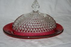 Vintage Indiana Glass Ruby Cranberry Flashed by TheTreasureHuntLLC
