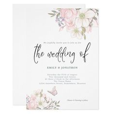 White Pink Magnolias Butterfly Script Wedding Invitation - tap/click to personalize and buy #Invitation #wedding #spring #magnolias #pastel #flowers