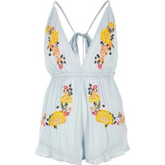 Light blue embroidered beach playsuit